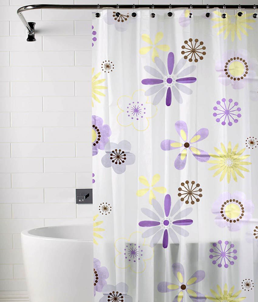 Tjar White Purple Polyester Shower Curtain Buy Tjar White Purple Polyester Shower Curtain