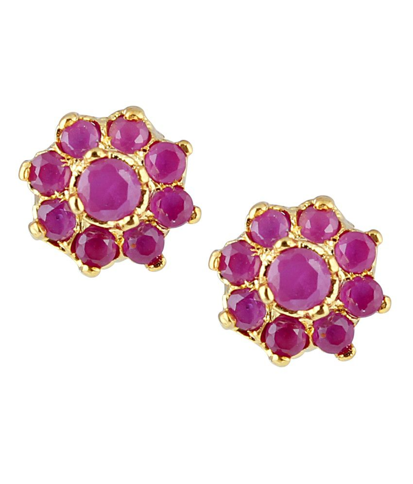 Archi Collection Pink Colour Spark Alloy Stud Earrings