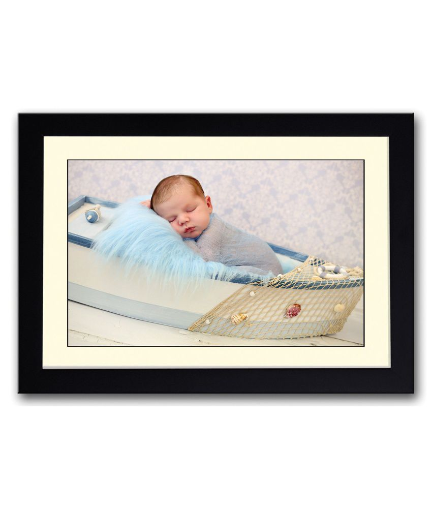 Artifa Matte Amazing Cute Baby On Small Boat Painting With Metal Frame
