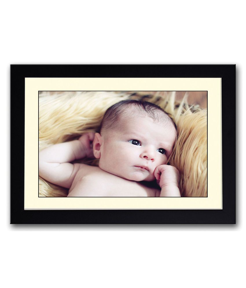 Artifa Matte Baby On Brown Grass Painting With Metal Frame