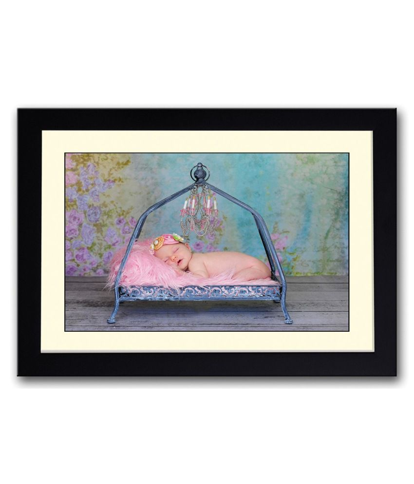 Artifa Matte Baby Sleeping Cutely In Swing Painting With Metal Frame