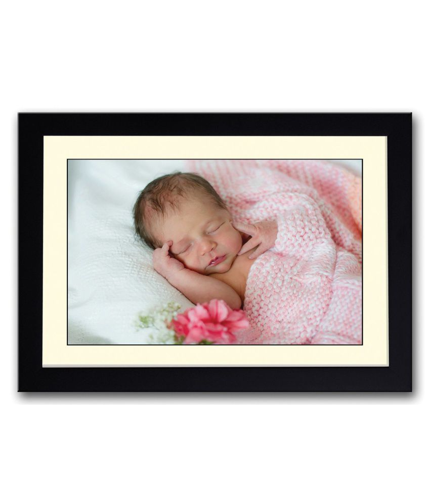 Artifa Matte Baby Sleeping With Pink Rose Painting With Wood Frame