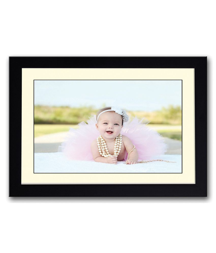Artifa Matte Cute Baby Girl With Pearls Painting With Wood Frame