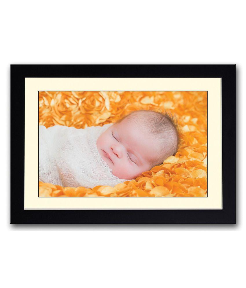 Artifa Matte Cute Baby Sleeping On Orange Image Painting With Wood Frame