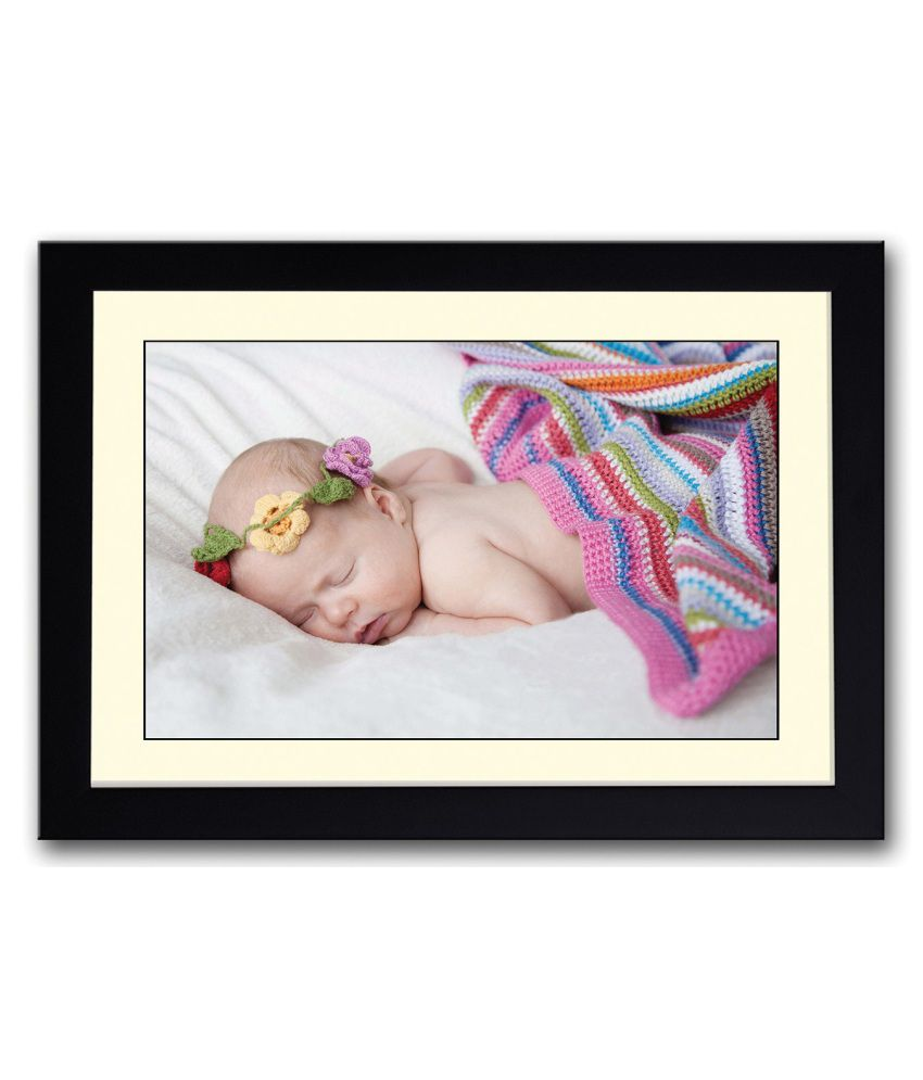 Artifa Matte Cute Baby With Colorful Crown Painting With Wood Frame