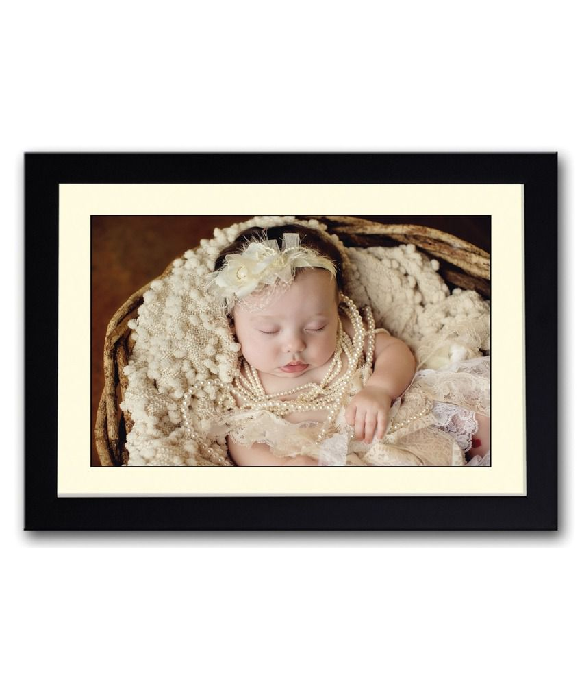 Artifa Matte Cute Baby With Pearl Necklace Painting With Metal Frame