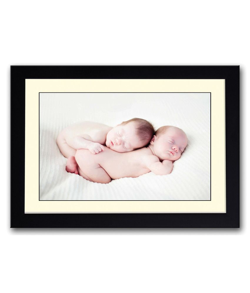 Artifa Matte Two Cute Babies Sleeping Together Painting With Metal Frame