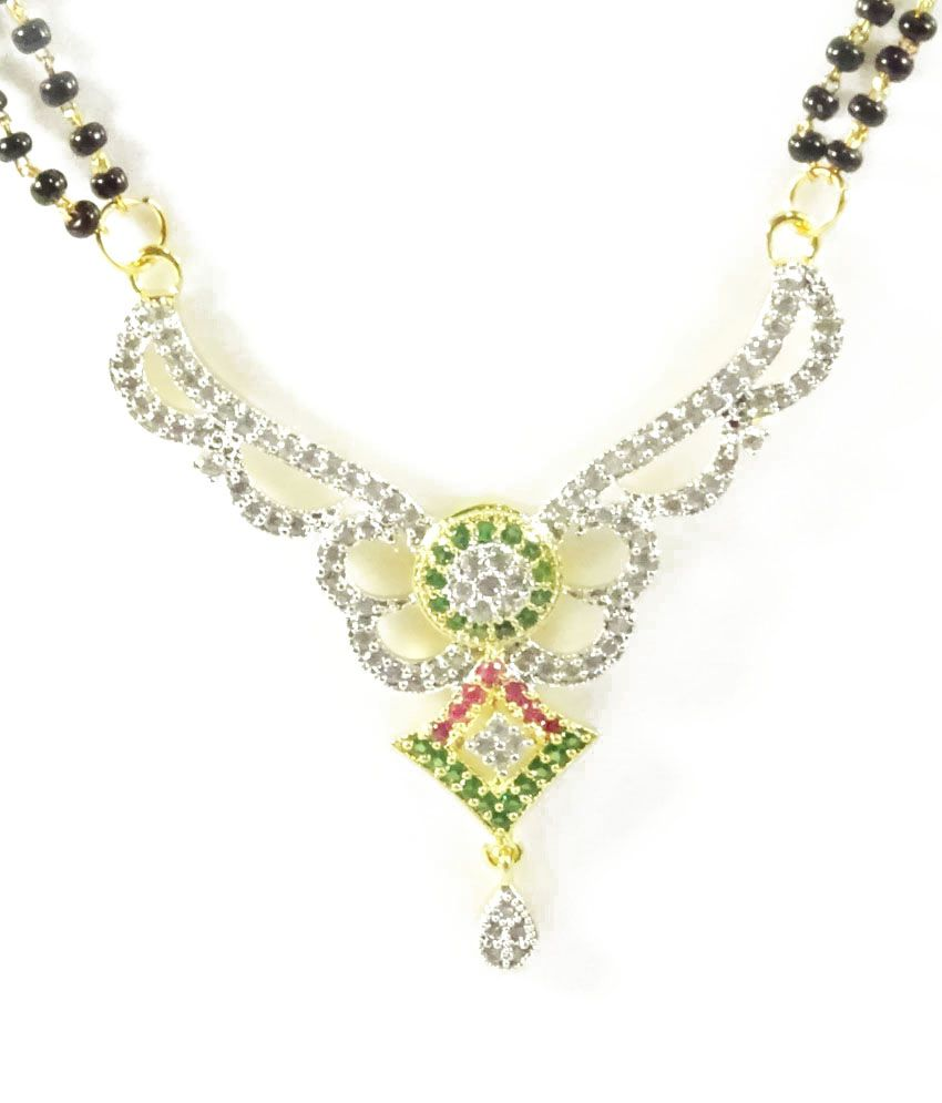 Navisha Multicolor American Diamond Alloy Mangalsutra Set
