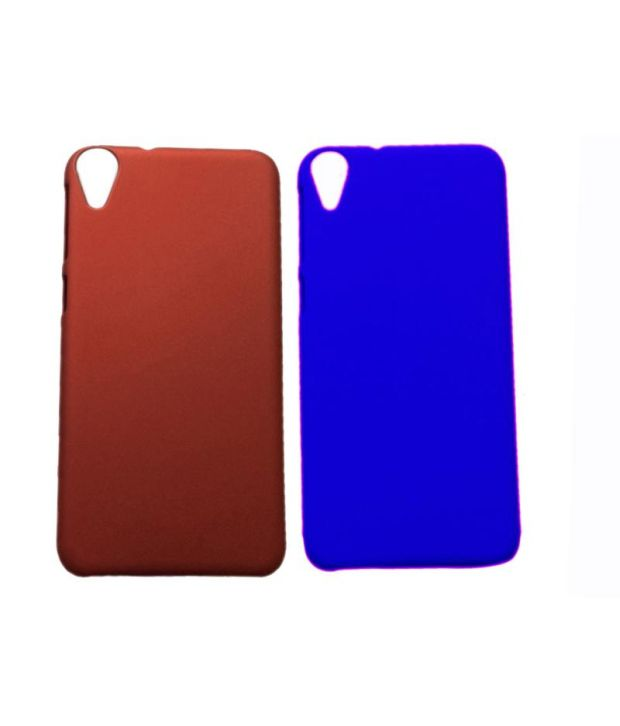 Winsome Deal Combo of Red and Blue Plastic Back Covers for HTC Desire 820 (Set of 2)