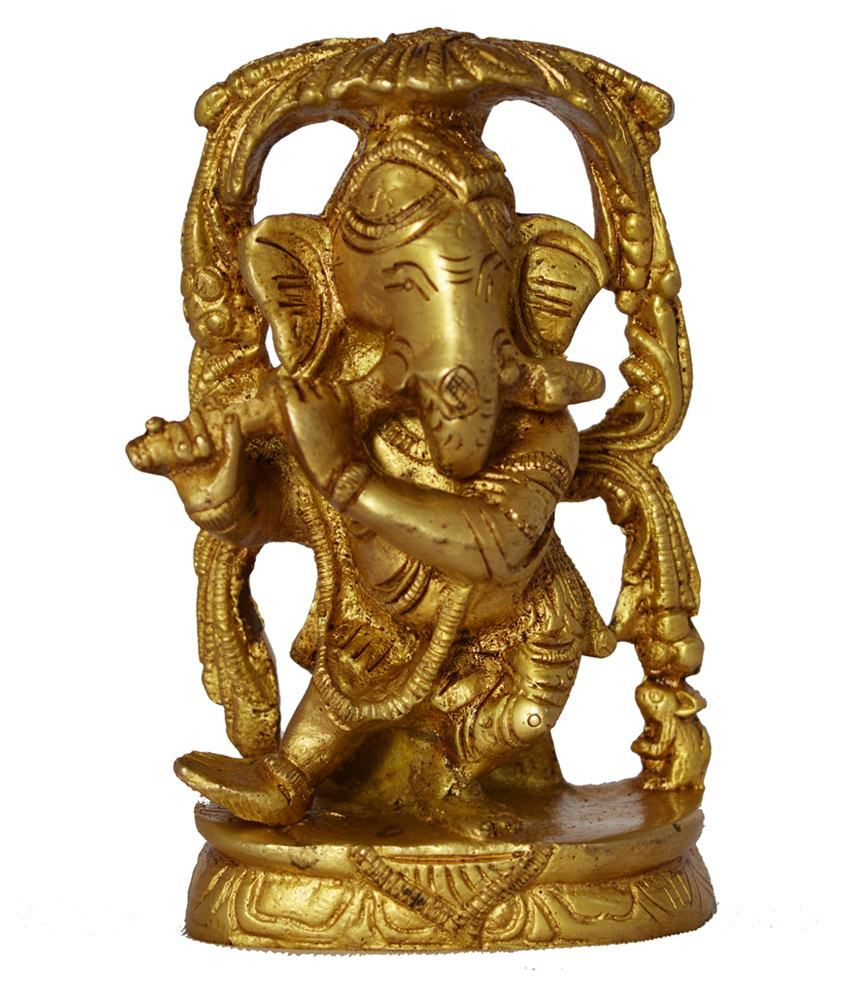 Aakrati Golden Brass Ganesha Statue Of Playing Flute