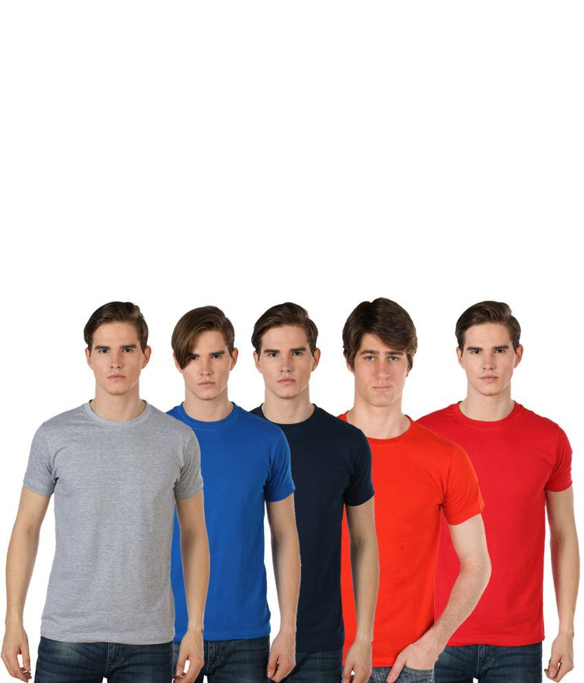 Billy Buddha Multicolour Cotton Round Neck T-shirts Combo (Pack of 5)
