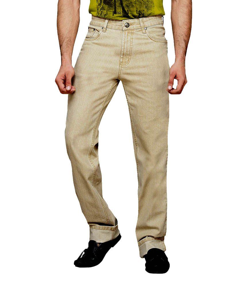 Dragaon Jeans Beige Regular Fit Jeans