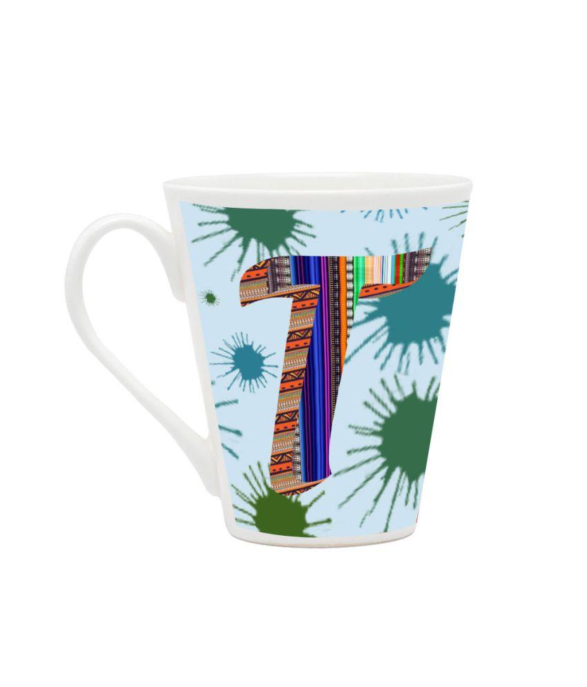 Homesogood White T Design Pattern Printed Mug - 355 Ml