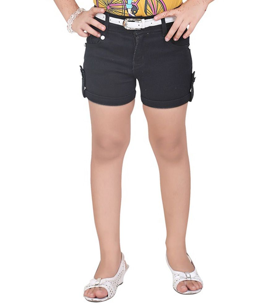 Mint Black Cotton Shorts