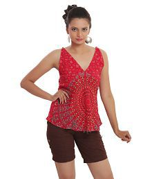 Indi Bargain Rayon Rajasthani Mandala Hand Block Printed Beachwear Top