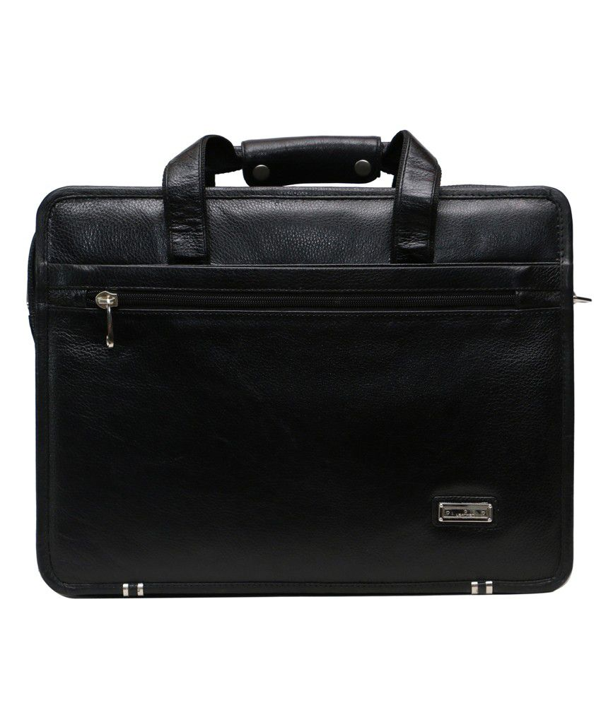 C Comfort Black Leather Laptop Bag