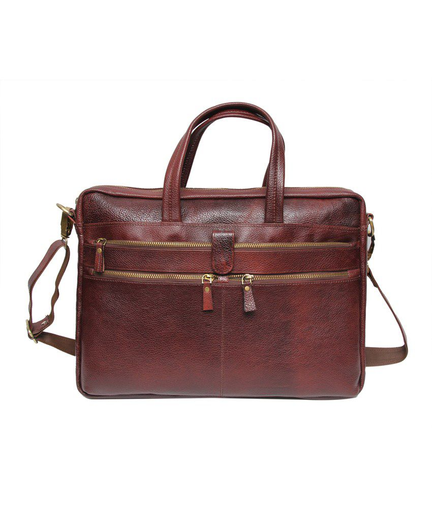 C Comfort Brwon Leather Messenger Bag