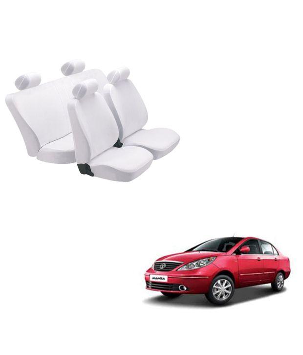 Cool White Denim Car Seat Covers For Tata Manza