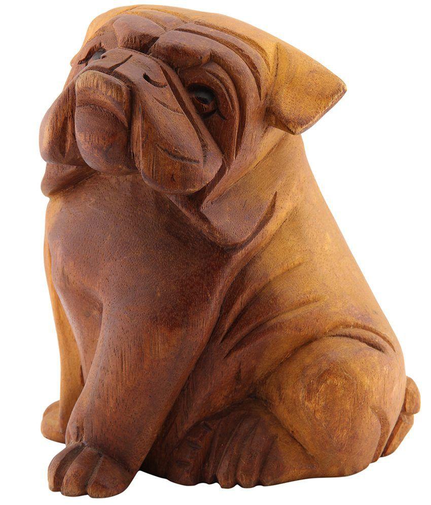 Furncoms Brown Wooden Bull Dog Small Animal Figurines