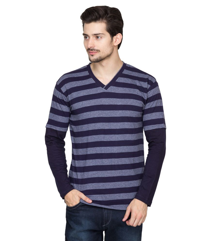Hypernation Navy Cotton V-Neck Full Sleeve T-Shirt
