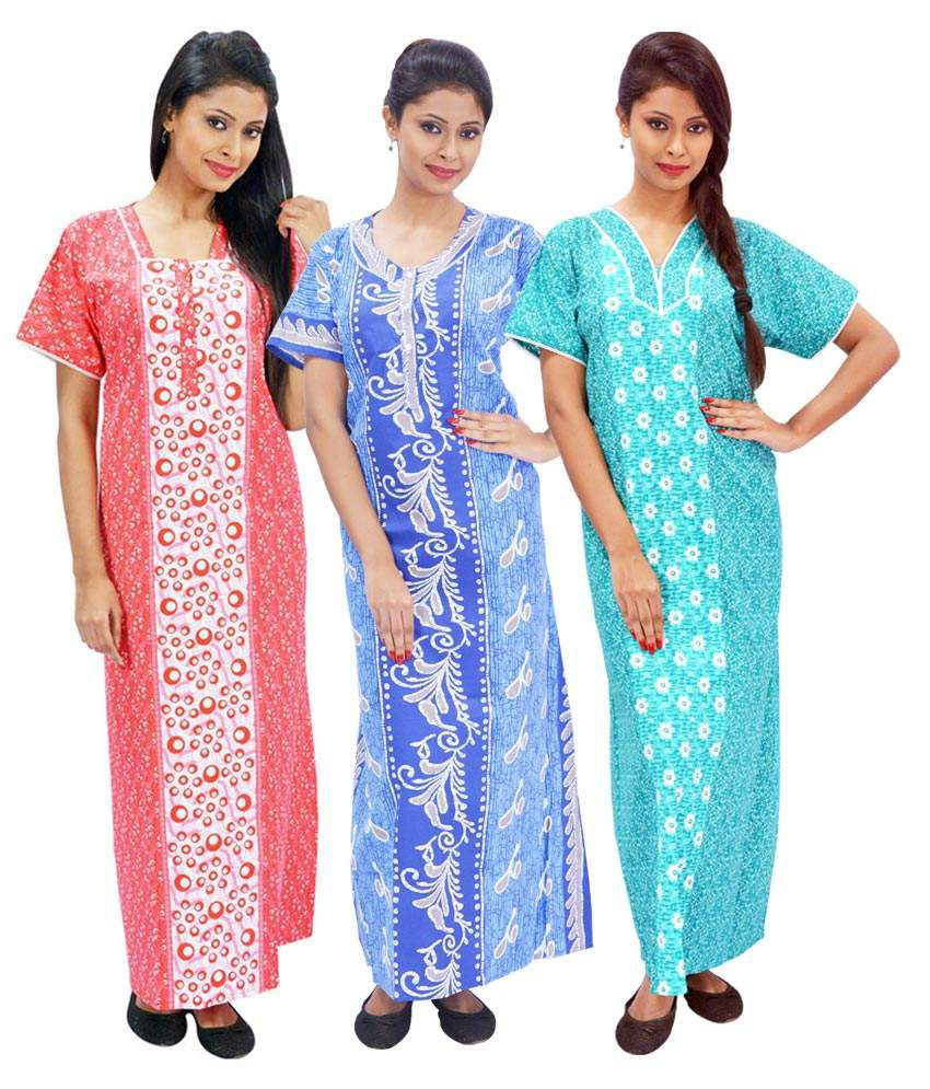 Buy Anand India Multi Color Cotton Nighty   Night Gowns Pack of 3 Online at Best  Prices in India - Snapdeal 051b85fa6