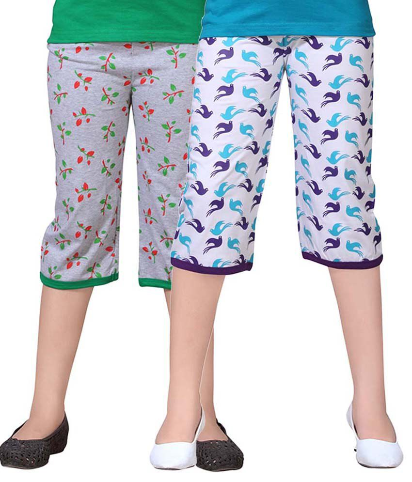 Sini Mini Multicolour Cotton Capris Pack Of 2