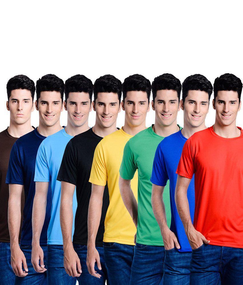 Superjoy Multicolour Polyester T-Shirt - Pack of 8
