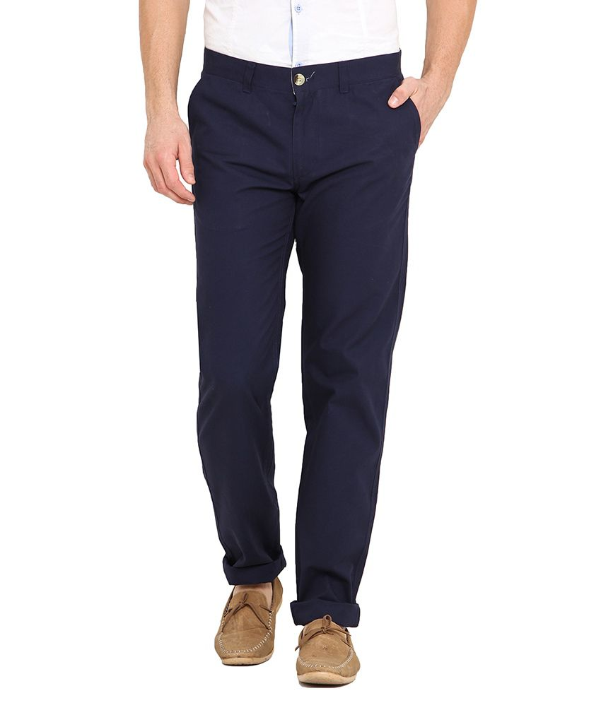 Western Vivid Navy Blue Cotton Blend Regular Fit Trouser