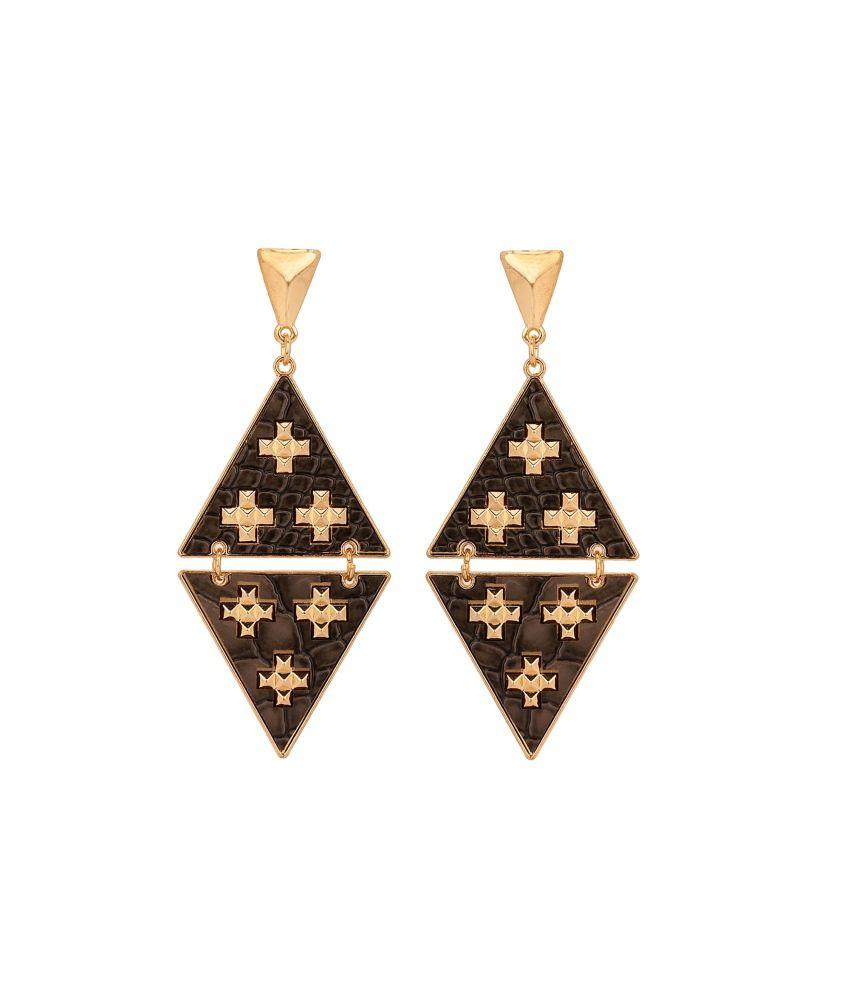 Adwitiya Collection Black Brass Drop Earrings