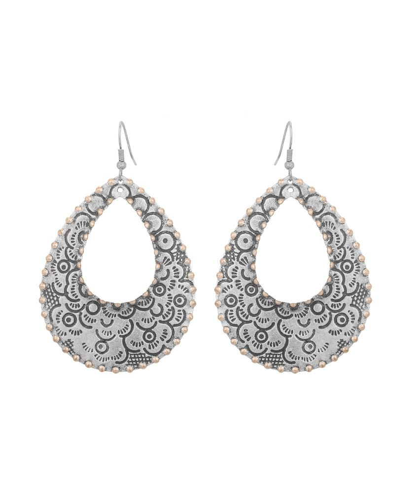 Adwitiya Collection Silver Brass Drop Earrings
