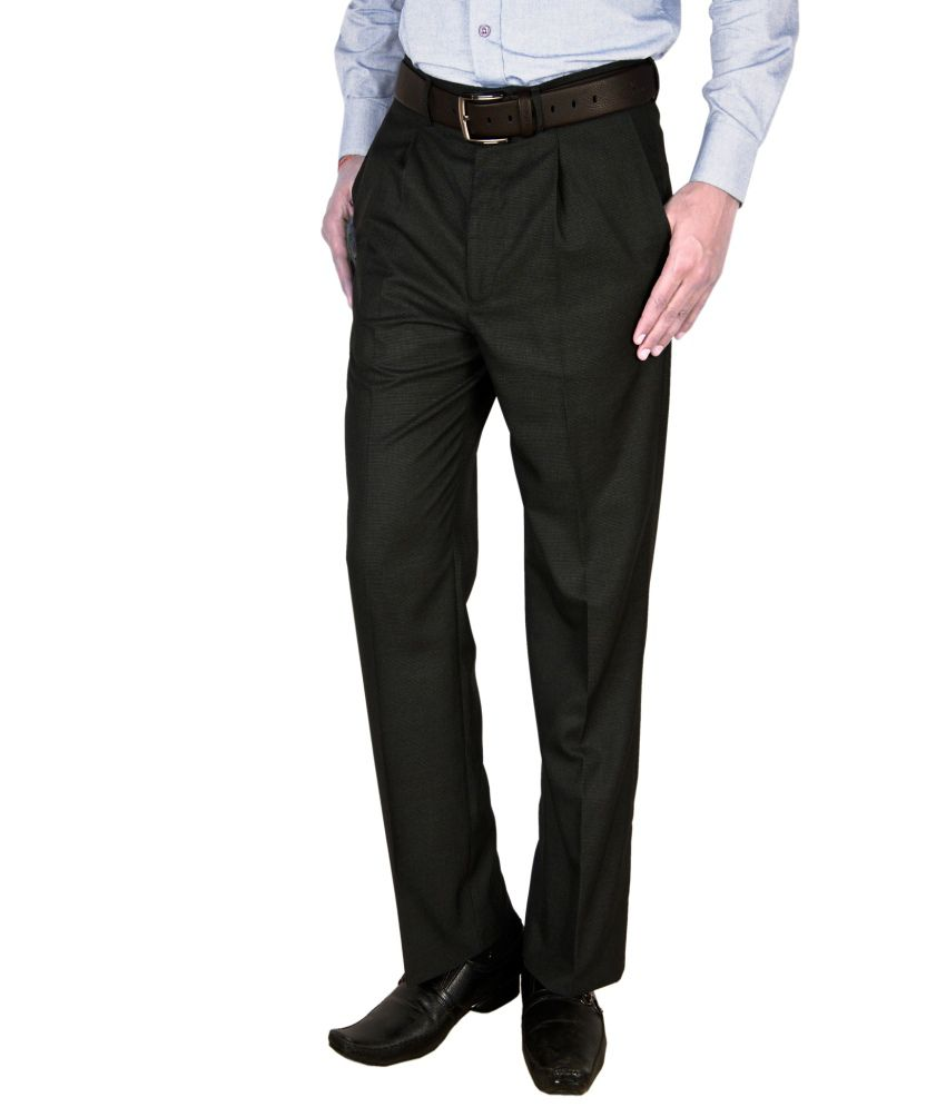 Integration Black Regular Fit Formal Pleated Trouser