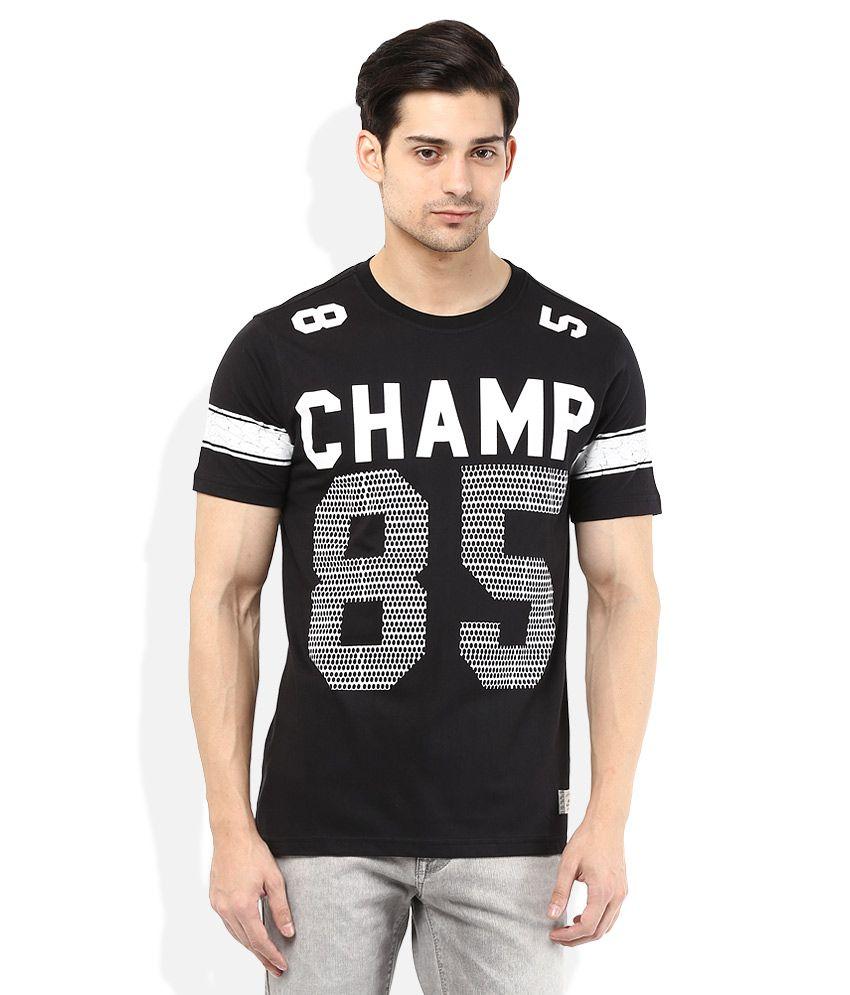 Spunk Black Round Neck Printed T-Shirt