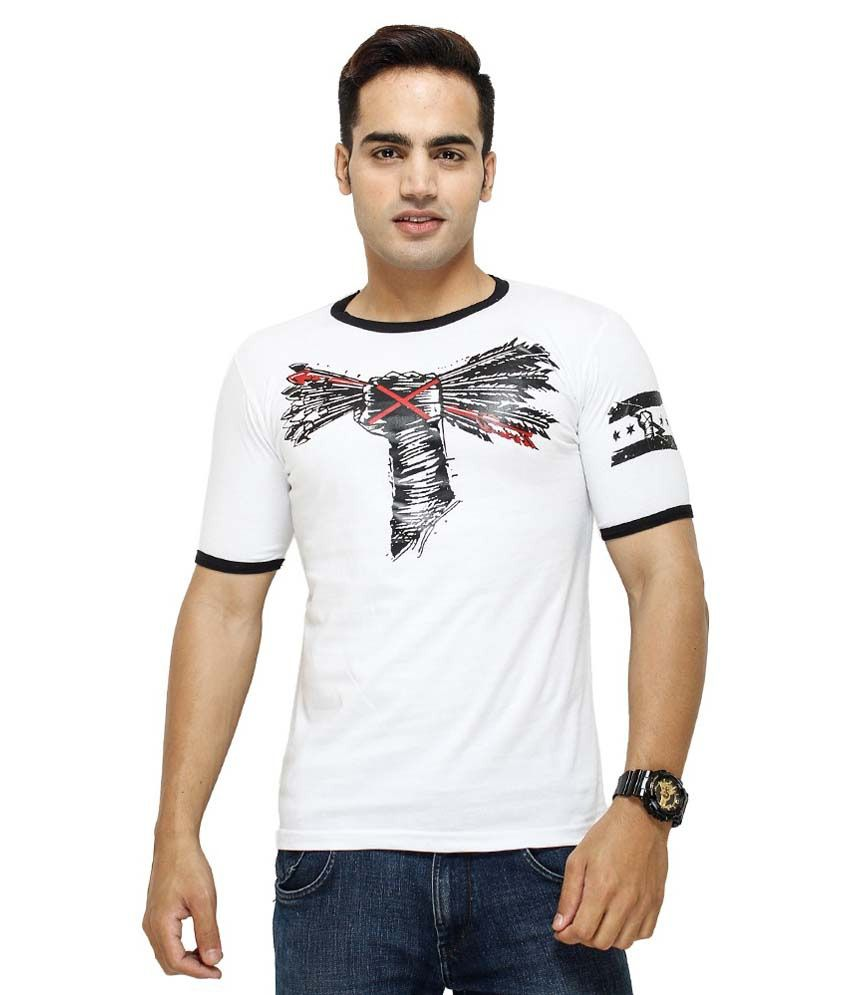 Attitude White & Black Cotton T-Shirt