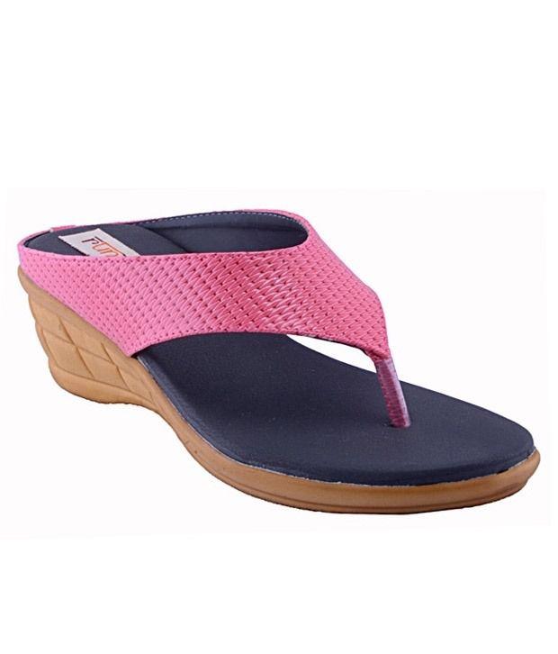 Rung Pink Wedges Heeled Slip-on