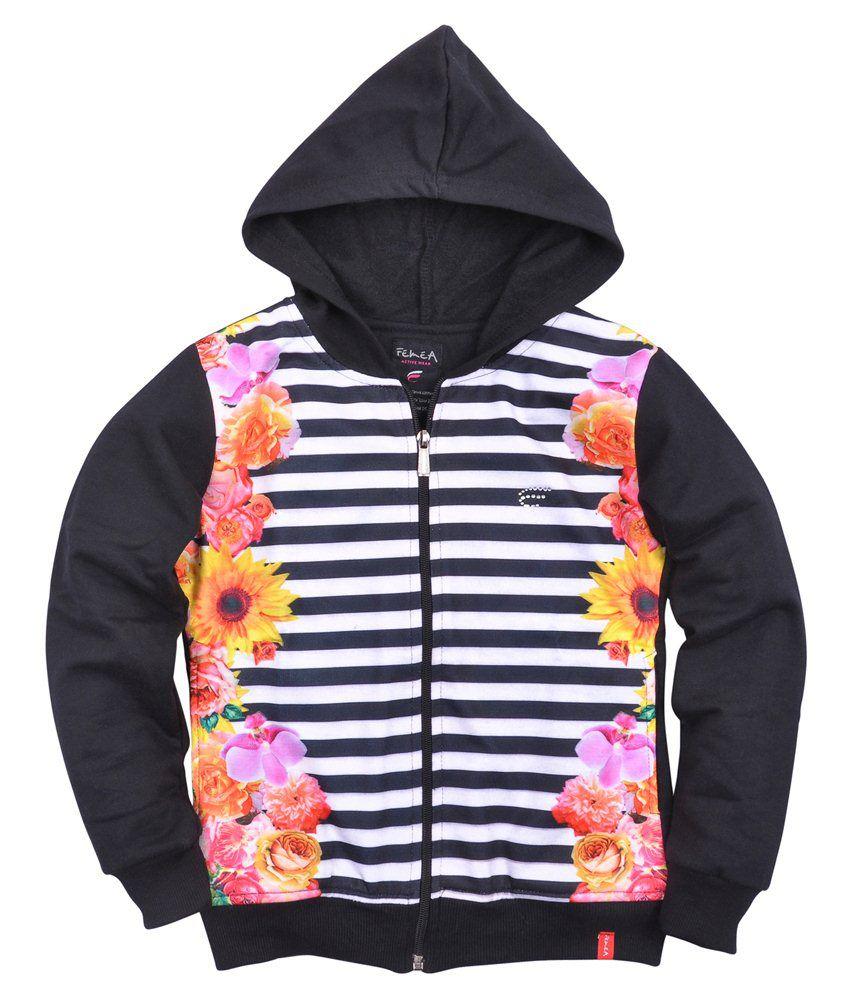 Femea Black Sweatshirt For Girls
