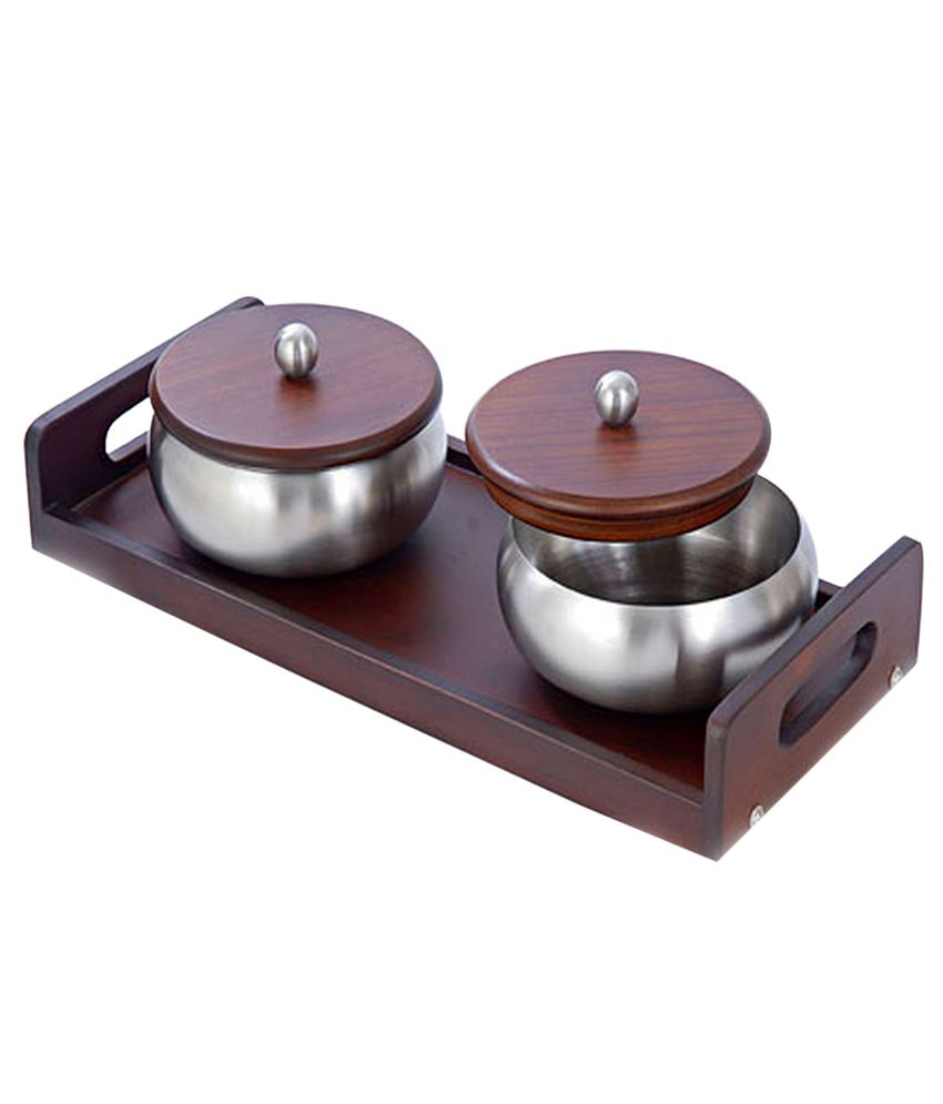 Hiba Decor Silver Stainless Steel Table Accessories Set Of 2 Buy Online At Best Price In India