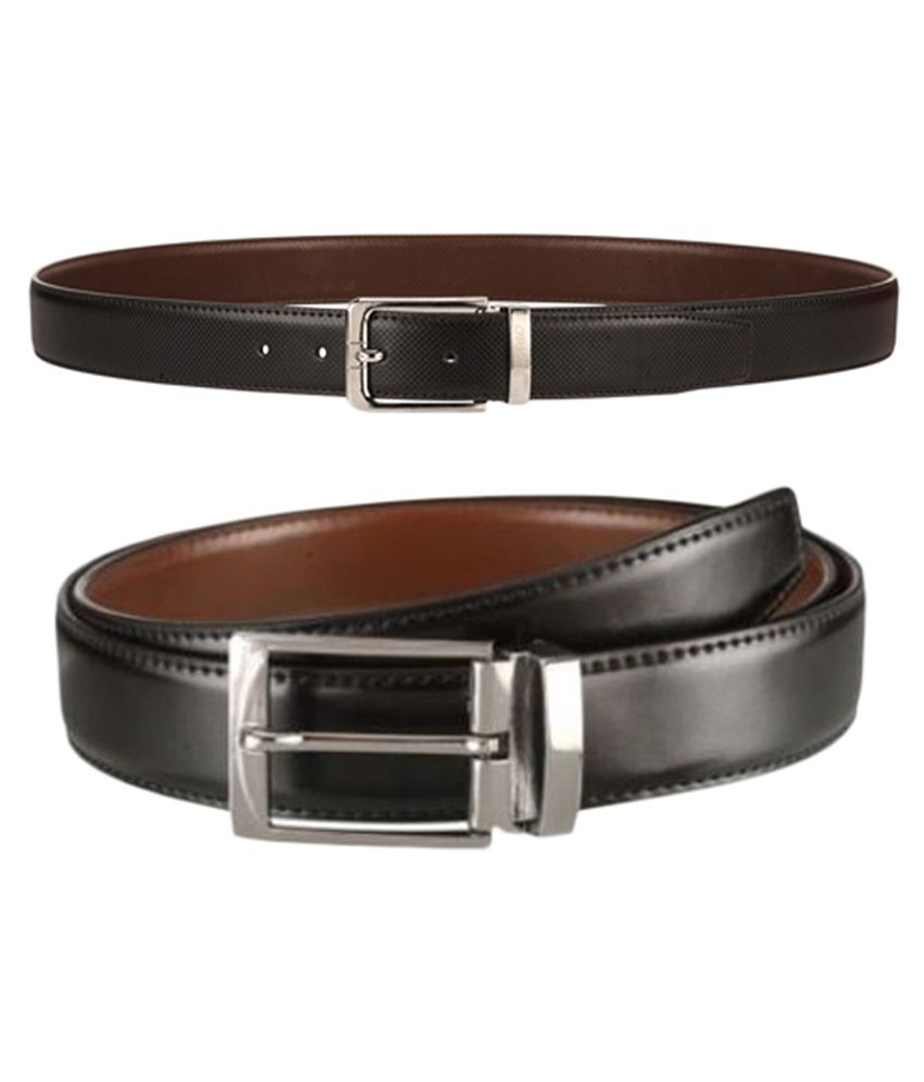 Orkee Black Formal Belt Combo Of 2