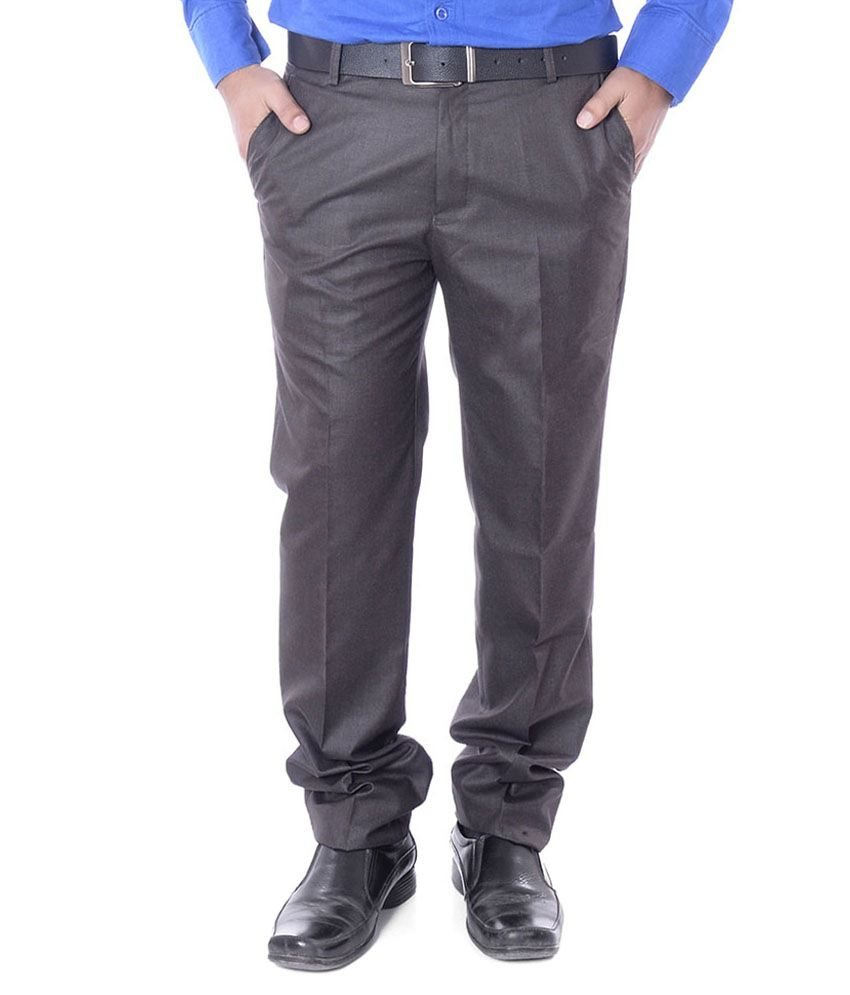 Wave Brown Slim Fit Formal Pleated Trousers