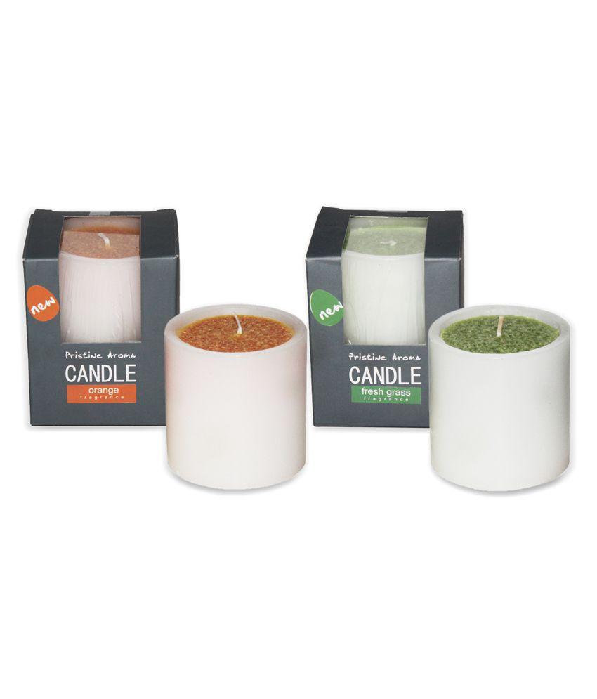 Deco Aro Green & Orange Pristine Aroma Candle Pack of 2