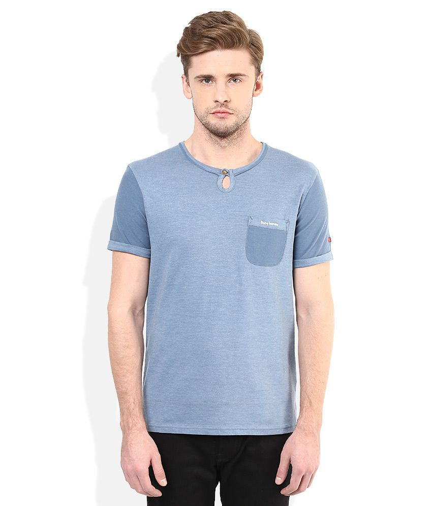 Being Human Blue Solid Round Neck T Shirt