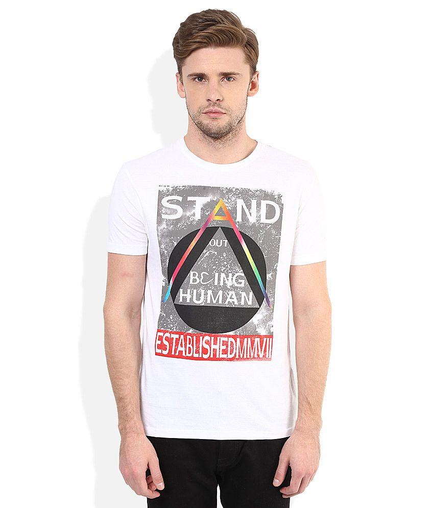 Being Human White Round Neck T-Shirt