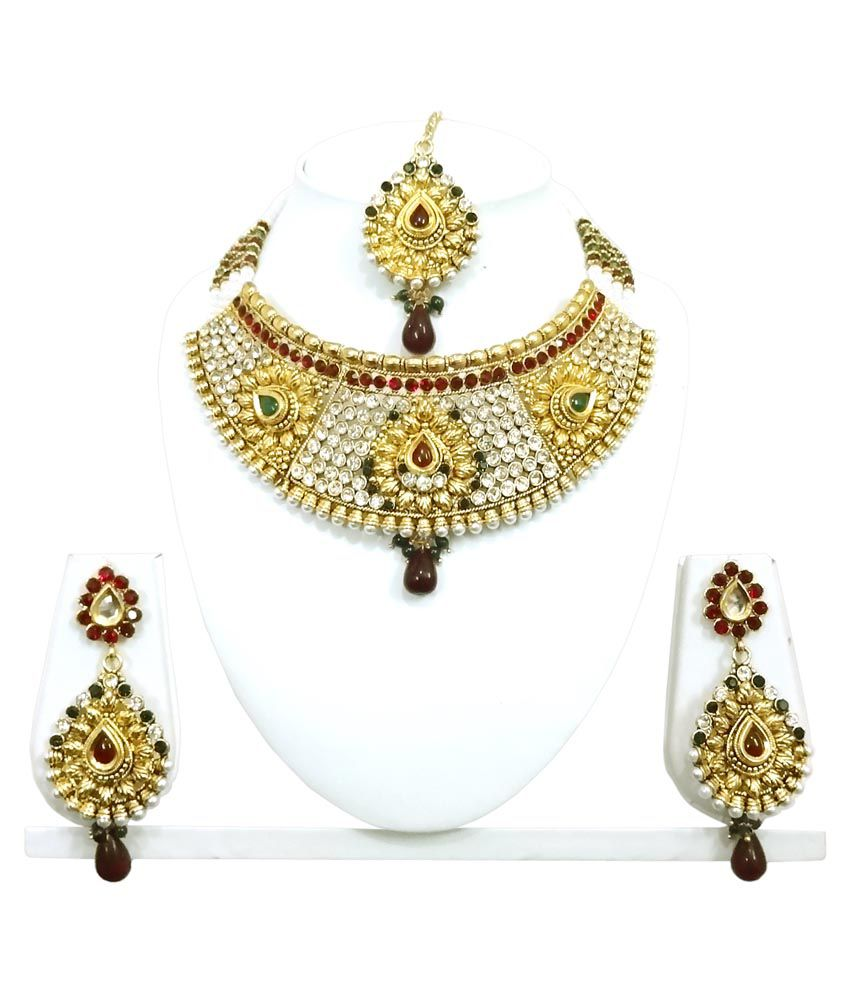 Arts Chetan Gold Alloy Necklace Set With Mang Tika And Earrings