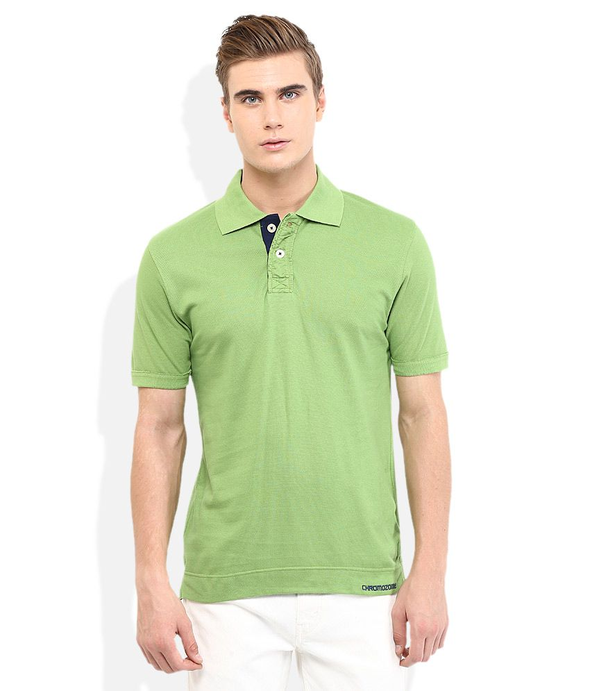 Chromozome Green Solid Polo T Shirt
