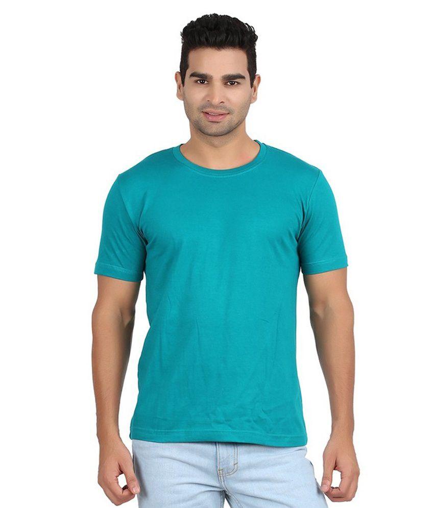 Mogo Apparels Turquoise Cotton Blend T-shirt