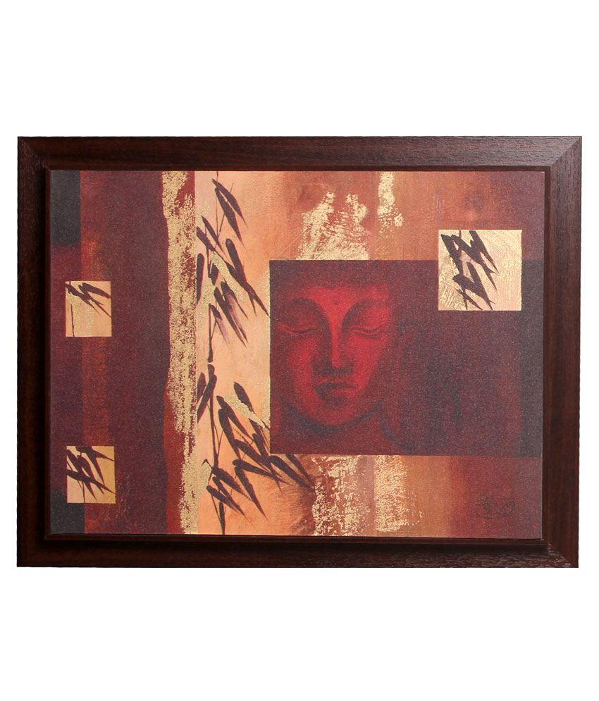 Srikara Frames Brown & Beige Acrylic Buddha Painting