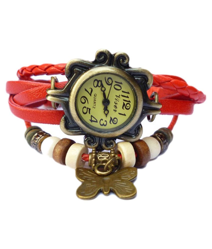 Renaissance Traders Red Leather Party Wear Bracelet Watch