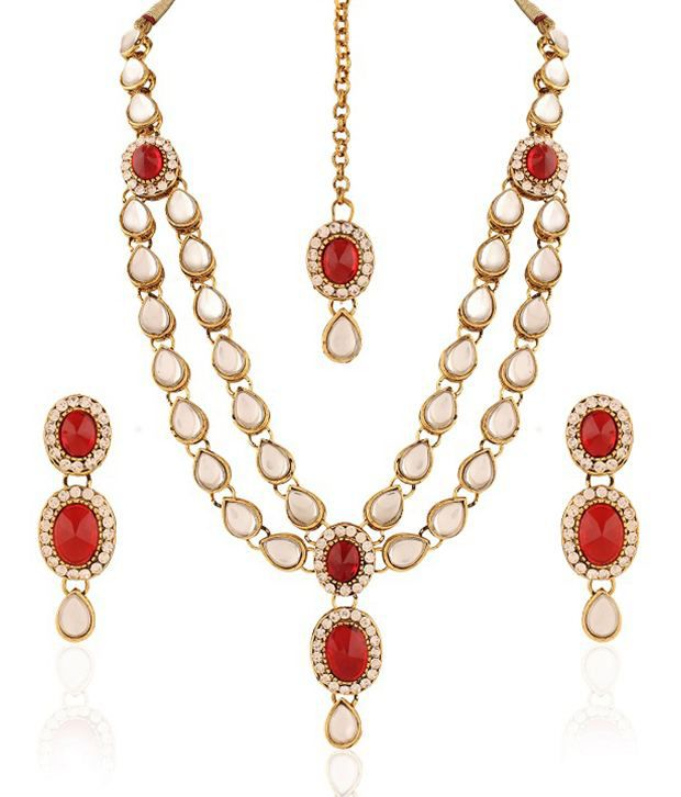 Rich Lady Red Alloy Diamond Studded Traditional Necklace Set