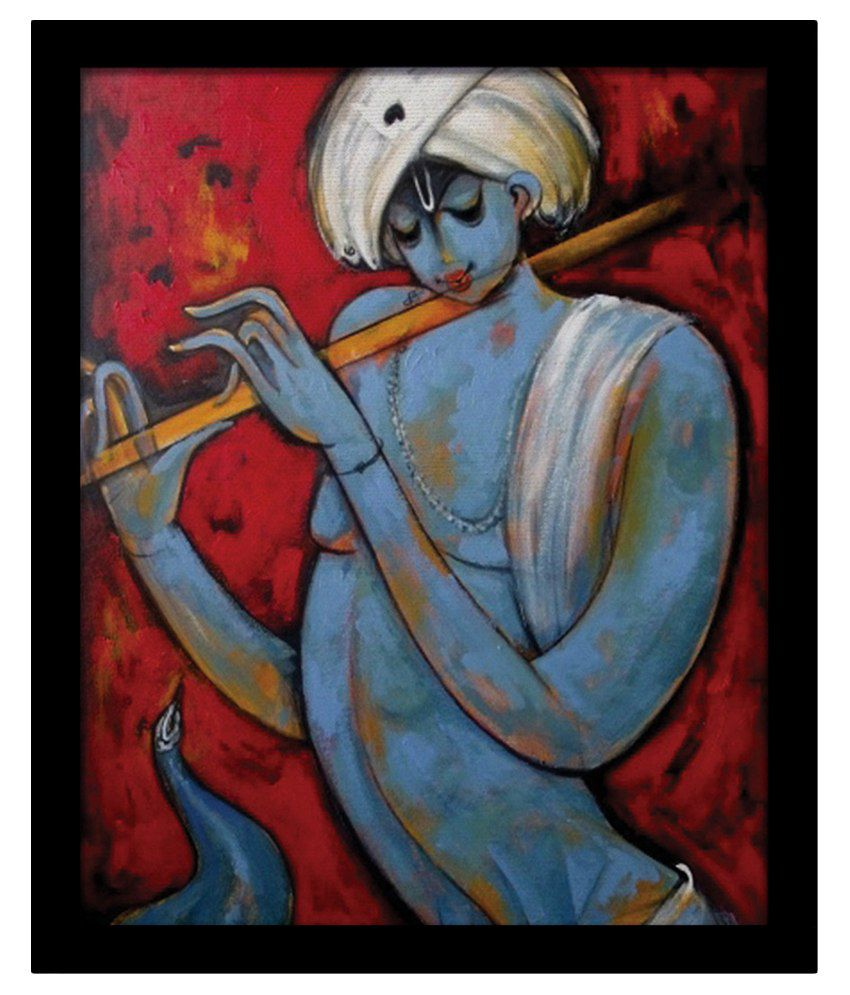 Yudezine Lord Krishna with Flute Modern Painting: Buy ...