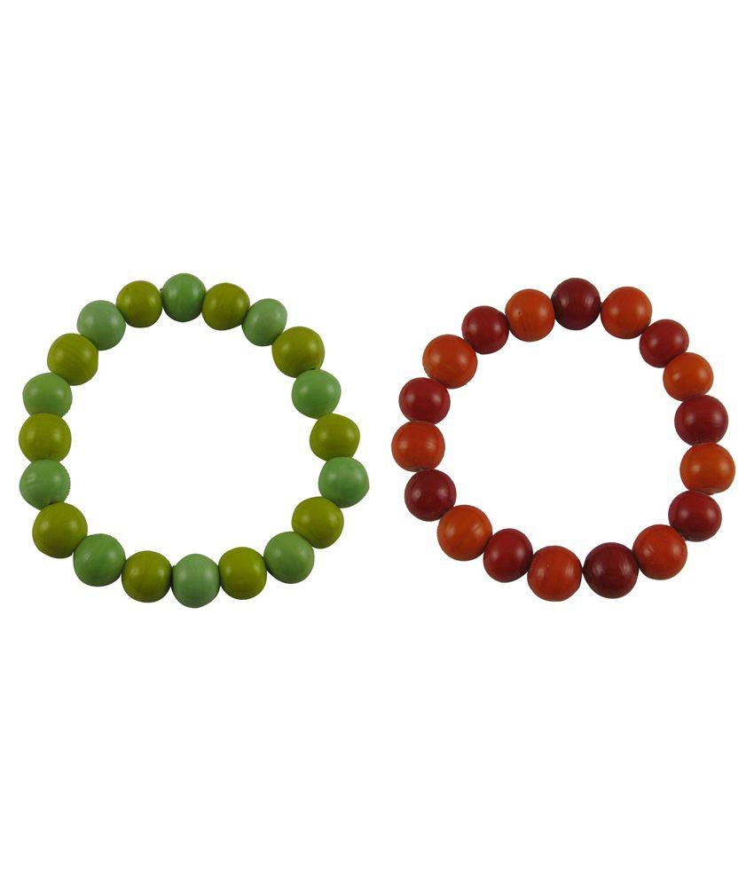 Eshoppee Handmade Multicolor Glass Bead Bracelet Daily Wear Bracelet - Pack of 2 Wristband Wrist Band