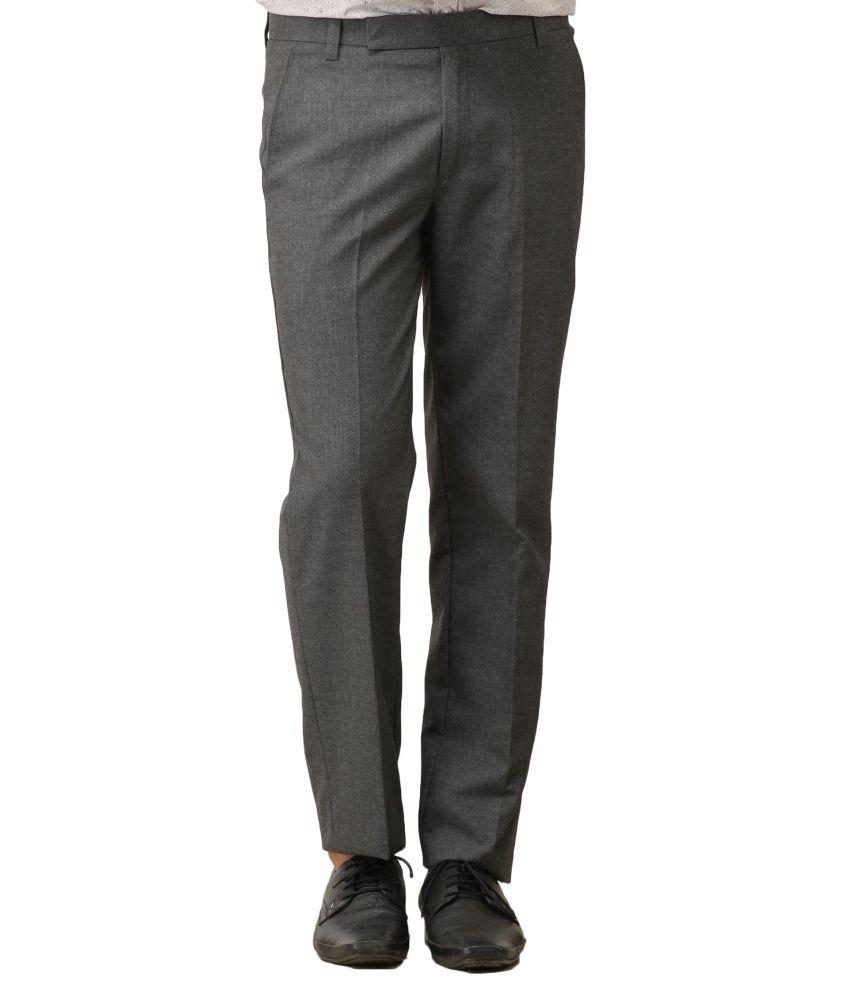 Flying Eagle Grey Cotton Blend Formal Trouser
